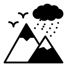 Drizzle At Hill Station Stock Illustration, Moutains And Cloud Rain Concept, Rainy Equipment Vector Glyph Icon Design, Wet Season Symbol On White Background, Rainfall Weather Sign,