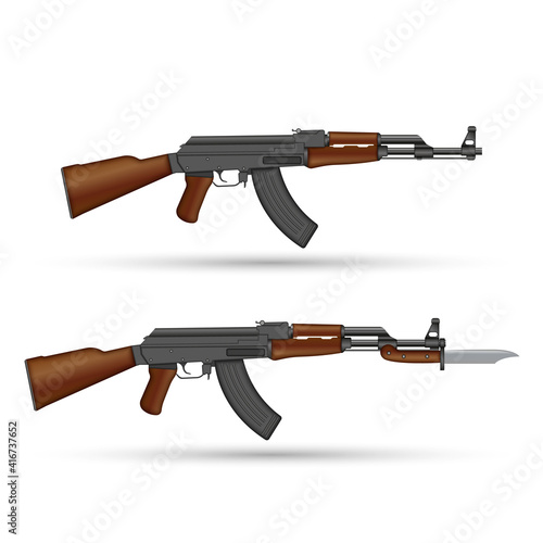 Tela Kalashnikov AK-47 assault rifle with bayonet knife isolated on white realistic vector illustration, 3d model set of soviet weapons set