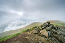 The Stone Summit Cairn Of Meall Nan Tarmachan In The Scottish Highlands, UK Landscapes.