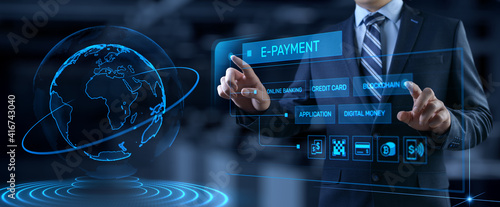 Fototapeta E-payment digital money online banking. Businessman pressing button on screen. obraz