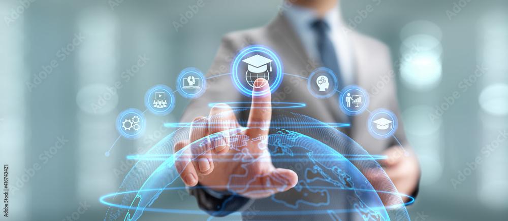 Online education internet learning e-learning concept on digital interface. - obrazy, fototapety, plakaty