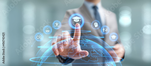 Obraz na płótnie Online education internet learning e-learning concept on digital interface