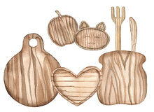 Watercolor Wooden Kitchen Utencils, Tools, Boards, Plates