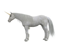 White Unicorn Standing Side View. Fairytale Creature 3d Illustration Isolated On White Background.