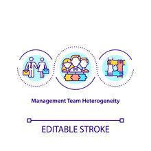 Management Team Heterogeneity Concept Icon. Functional Experience Idea Thin Line Illustration. Firm Performance. Age And Team Tenure. Vector Isolated Outline RGB Color Drawing. Editable Stroke