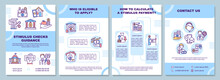 Stimulus Checks Guidance Brochure Template. Eligible To Apply. Flyer, Booklet, Leaflet Print, Cover Design With Linear Icons. Vector Layouts For Magazines, Annual Reports, Advertising Posters