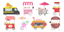 Set Of Different Street Food Carts.