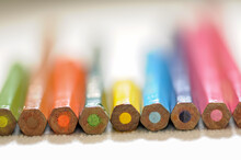Colorful And Funny Arrangement Of A Set Of Pencils And Ink Pots