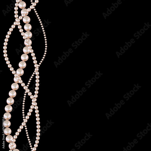 Realistic beauty strings of pearls on black background. Vector Illustration © yganko
