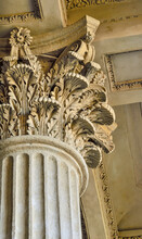 Column Capital Close Up - Architectural Element Of Antique Buildings Decoration. Upper View Of Stone Column Decor - Curved Leaves. Detail Of Kazan Cathedral In St. Petersburg