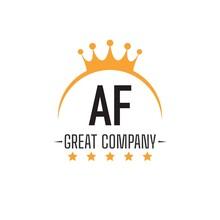 Initial Letter AF King Design Logo Concept, King Logo.