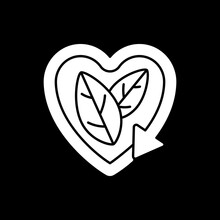 Please Recycle Sign Dark Mode Glyph Icon. Natural Cosmetics. Ecology Movement. Heart Shaped Label. Reuse Package. White Silhouette Symbol On Black Space. Vector Isolated Illustration