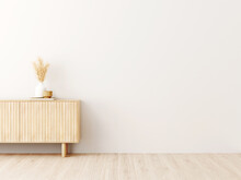 Living Room Interior Wall Mockup In Minimalist Japandi Style With Light Biege Wooden Console And Dried Pampas Grass Decor On Empty Warm White Background. 3d Rendering, 3d Illustration.