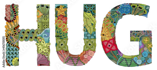 Fototapeta Words HUG. Vector zentangle object for decoration