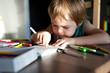 A little boy enthusiastically draws.