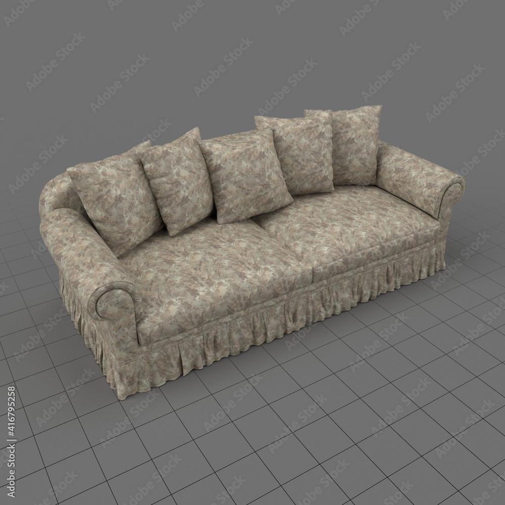Fototapeta Sofa with five cushions