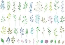 パステルカラーのリーフ・植物のセット 線画なし ベクター素材