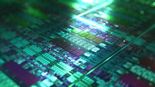 Silicon Green Wafer, Hardware Data Processing.  3D Rendering