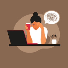 Professional Burnout Syndrome. Frustrated Worker, Mental Health Problems. Vector Illustration In Flat Style.