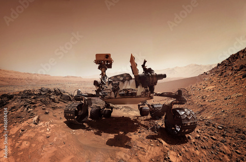 Fotografia Mars 2020 Perseverance Rover is exploring surface of Mars