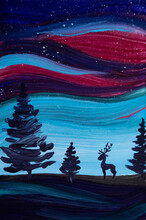 Painting The Northern Lights, Reindeer , Space