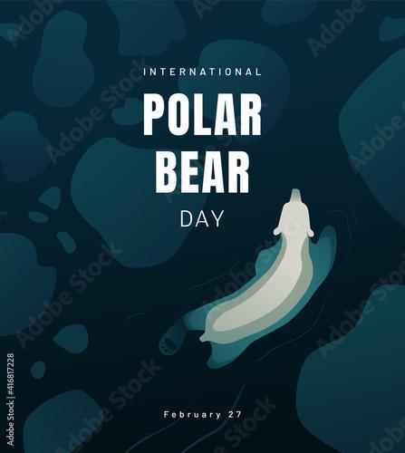 Fotografering International Polar Bear day poster or banner design concept