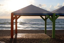 Canopy For Protection From The Sun And Outdoor Recreation On The Shores Of The Mediterranean Sea In Northern Israel
