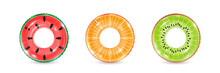 Inflatable Rings Looking Like Kiwi, Orange And Watermelon Isolated On White Background. Realistic Colorful Rubber Swimming Buoy. Vector Illustration Of Top View At Pool Floater In Fruit Shape