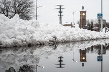 Close-up With Reflection Of The Snow On A Street In Toledo During The Great Snowfall Of 2021