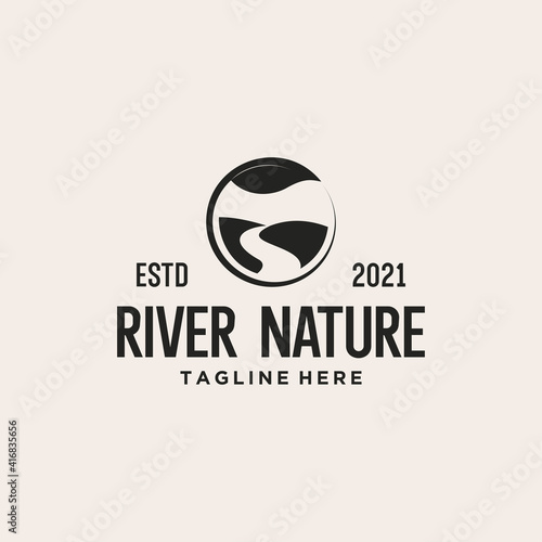 Cuadros en Lienzo river nature logo design vector