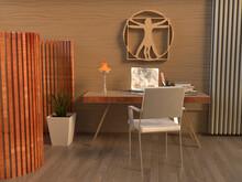 Despacho Minimalista 3d De Un Escritor Con Separador De Ambiente Decorado Con El Hombre De Vitruvio