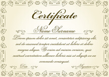 Retro Swirl Style Certificate Template Vector Illustration. This Old Style Elegant Certificate Frame Can Be Used In Retro Award Winner Design Projects And Other Vintage Documents.