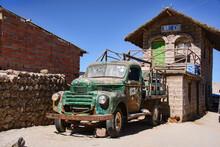 An Old Rusty Truck In Salar De Uyuni, Bolivia