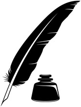 Vector Illustration Of A Simple, Two-color, Black And White Quill And Inkwell.