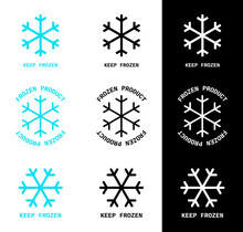 Vector Illustration Of 3 Snowflakes With Text In 3 Colors. Isolated Keep Frozen And Frozen Product Icons. Set Of 9 Elements For Food Packaging Design And Other Projects.