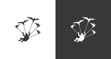 Skydiver Logo, The Silhouette Of A Flying Man With Birds, A Parachuting Man With Birds Logo