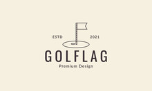 Golf Point Ball Lines Flag Logo Design Vector Icon Symbol Graphic Illustration