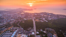 The Sun Rises Over Thepsrisin Bridge. Thepsrisin Bridge Is A Shortcut To Connect The City From Saphan Hin Intersection With Sakdidet Intersection In Order To Reduce The Bad Traffic Congestion..