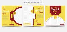 Food And Restaurant Menu Banner Social Media Post. Set Of Editable Social Media Template For Promotion.