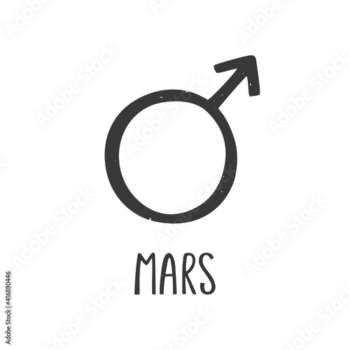 Ancient astrological symbol of Mars Fototapet