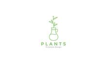 Plant Decorative With Jars Lines Logo Design Vector Icon Symbol Illustration