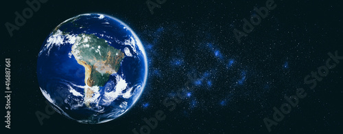 Fototapeta Planet earth globe view from space showing realistic earth surface and world map as in outer space point of view . Elements of this image furnished by NASA planet earth from space photos. obraz