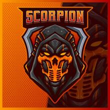 Scorpion Ninja Mascot Esport Logo Design Illustrations Vector Template, Grim Reaper Mask Logo For Team Game Streamer Youtuber Banner Twitch Discord