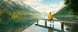 canvas print picture - Blick über den See in die Berge