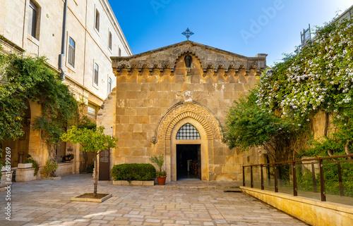 Fotografia Facade of medieval Church of the Flagellation at Via Dolorosa street in eastern