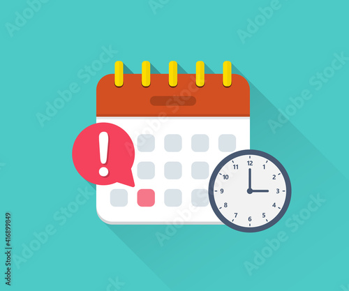 Obraz Calendar deadline with clock in a flat design - fototapety do salonu