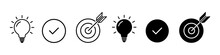 Set Of Icons Idea, Planning, Success. Business Process Icons. Vector Illustration.