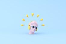 Minimal Scene Of Sunglasses And Headphone On Human Head Sculpture With Light Bulbs, 3d Rendering.