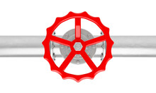 3D Render Glossy Metal Pipe With Red Valve From Top View Isolated On A White Background.Illustration Of A Digital Image For Industrial.