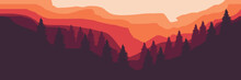 Vector Flat Design Of Sunset Over Mountain Good For Desktop Wallpaper, Web Banner, And Apps Background